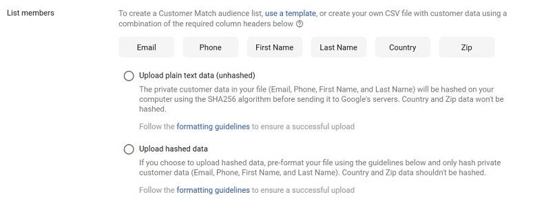Google's Customer Match list member options