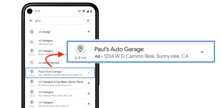 google maps auto suggest ad example