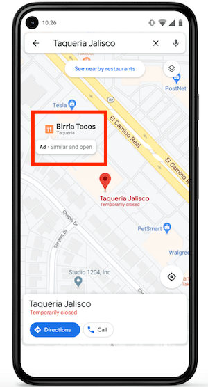 google maps similar places ad example