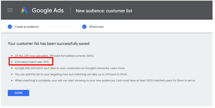 google customer match instant match rate feature