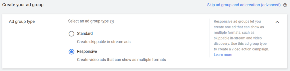 option to select responsive or standard for YouTube video action campaigns