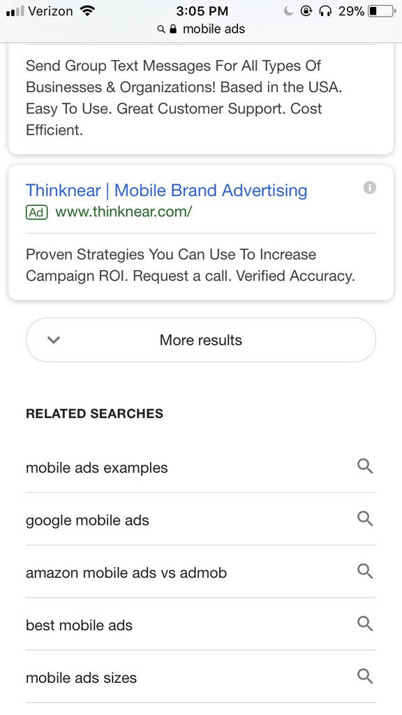 Google More Results Mobile SERP