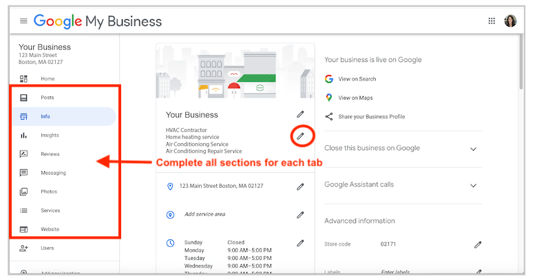 all sections in google my business account dashboard for google my business optimization