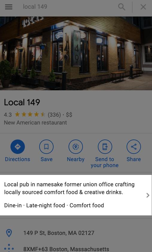 google my business optimization editorial description in listing