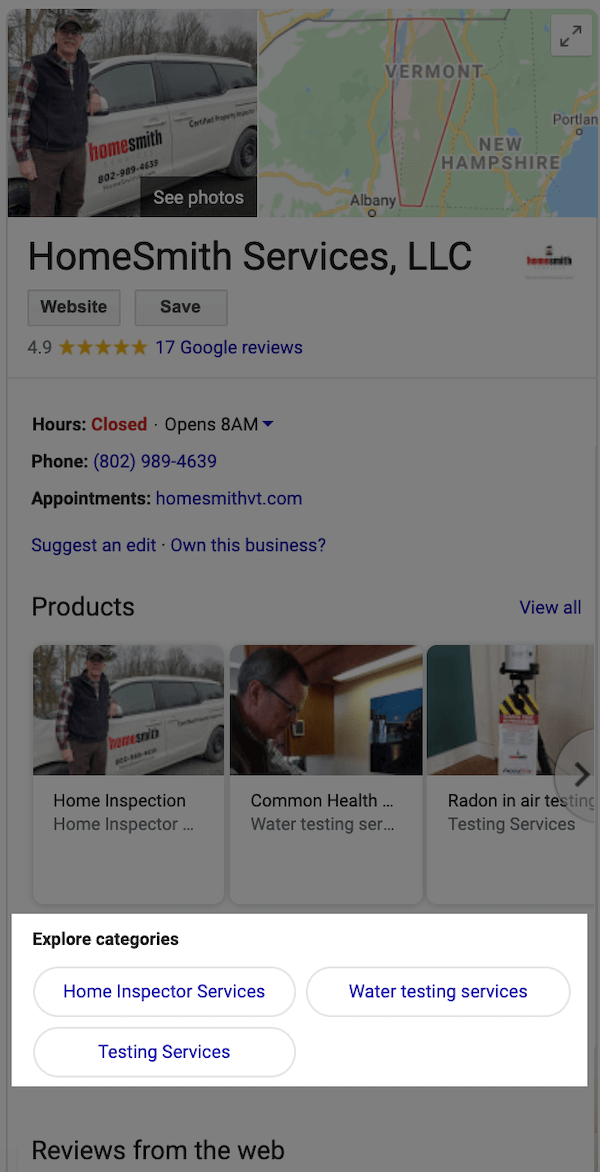 google my business optimization explore categories section of listing