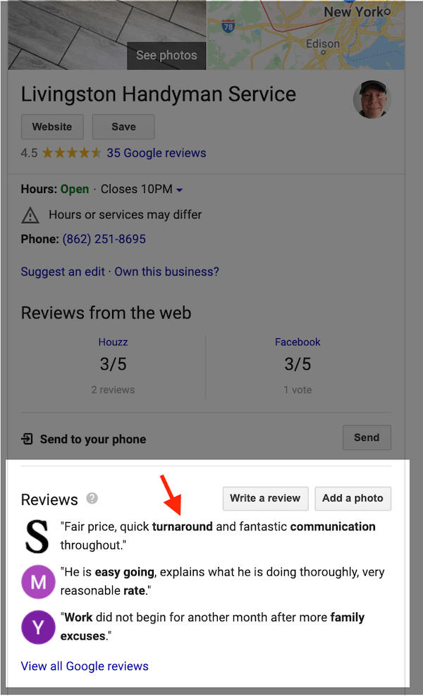 google my business optimization keywords bolded in reviews