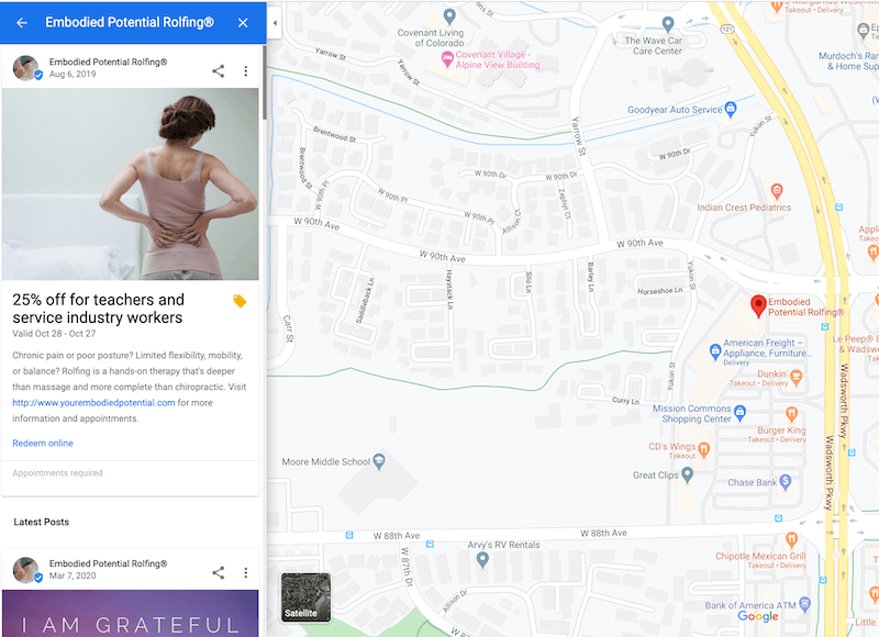 google my business optimization posts appear in maps