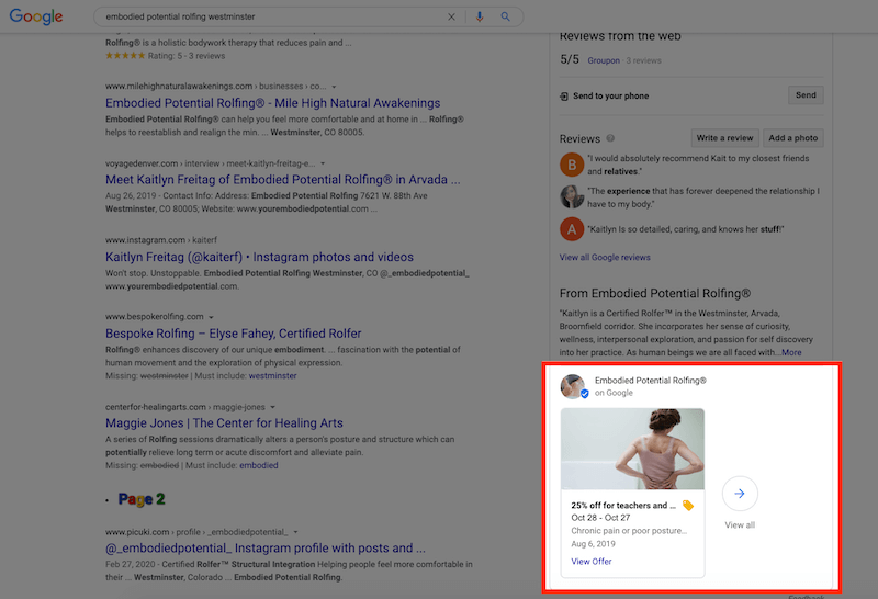 google my business optimization posts in profile