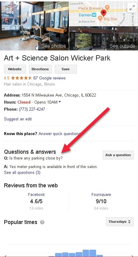 google my business optimization question and answer section