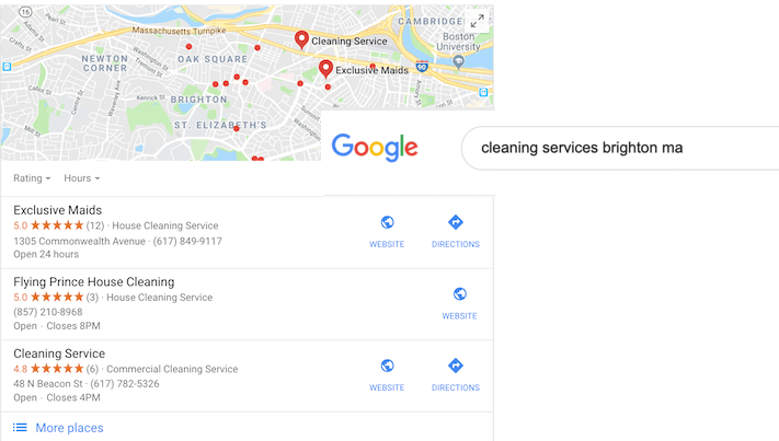 google my business optimization rank in the local pack with reviews and stars