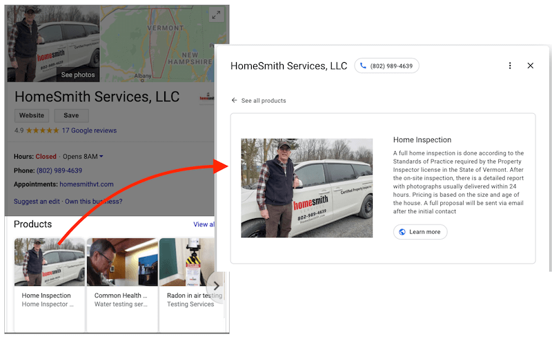 google my business optimization products in listing
