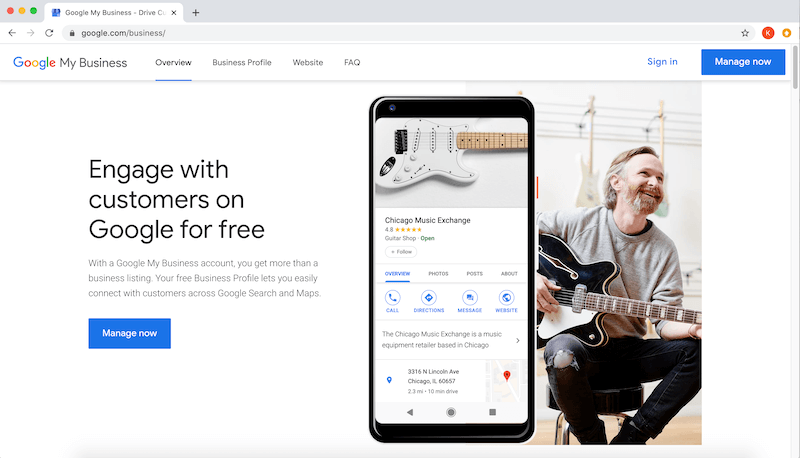 google my business optimization account signup page