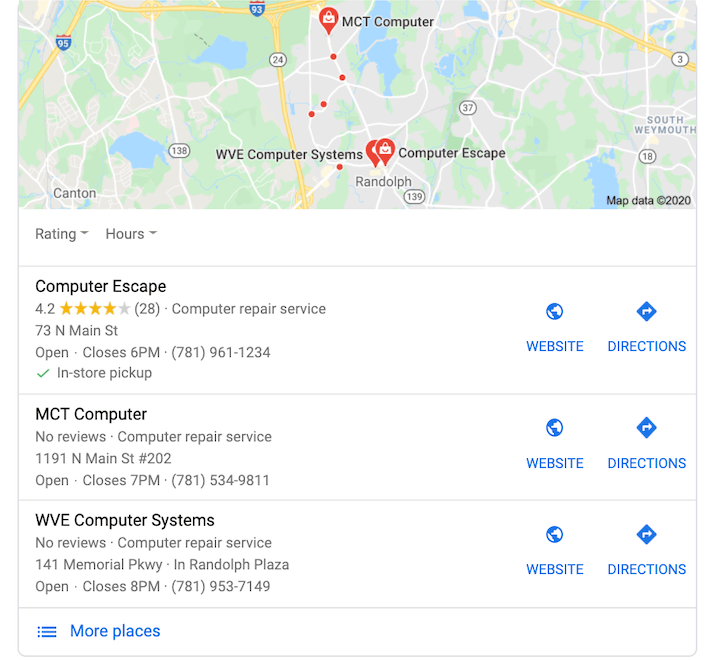 google my business optimization star ratings show in local pack
