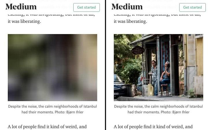 lazy loading example from Medium