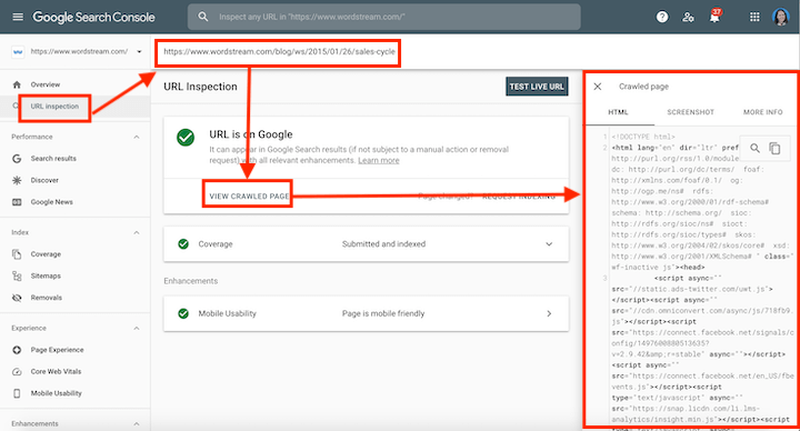 search console report revealing hidden text or links