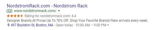 Google shopping reviews ad example