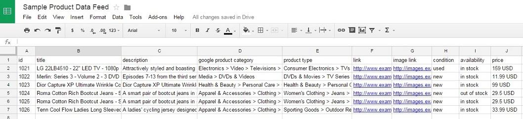 Google shopping reviews example of a product data feed