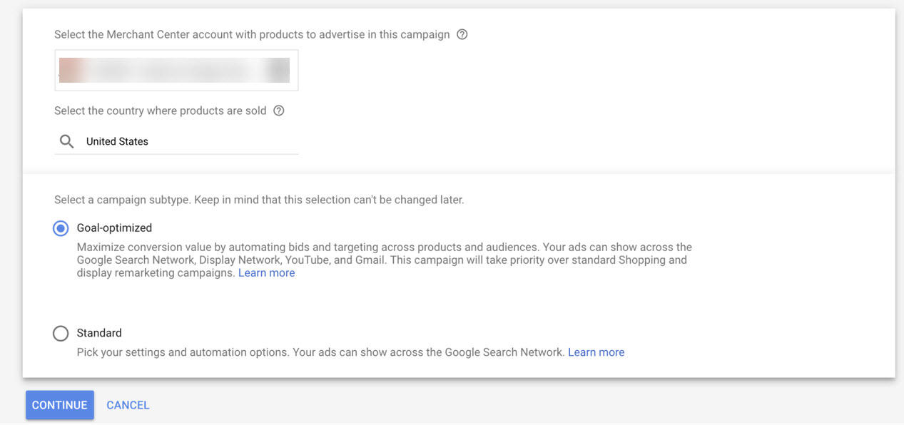 Google Smart Shopping Campaign Selection