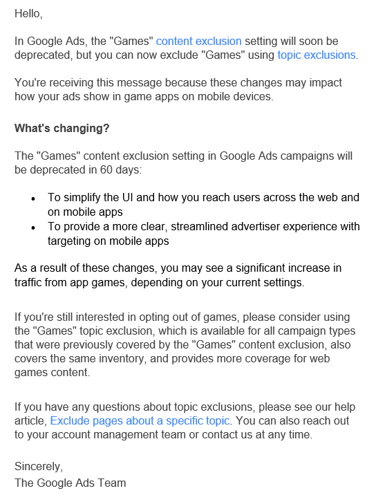 google-sunsets-games-exclusion-email-to-advertisers