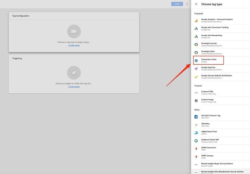 Google Tag Manager configuration menu