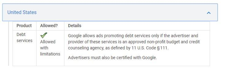 Google's policy for US
