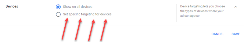 google ads select device placements
