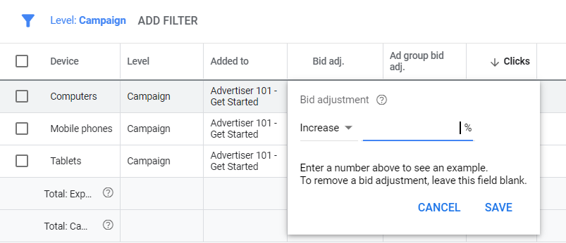 how much does google ads cost device targeting