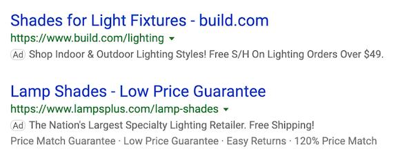 como criar exemplos de anúncios de sites de comércio eletrônico