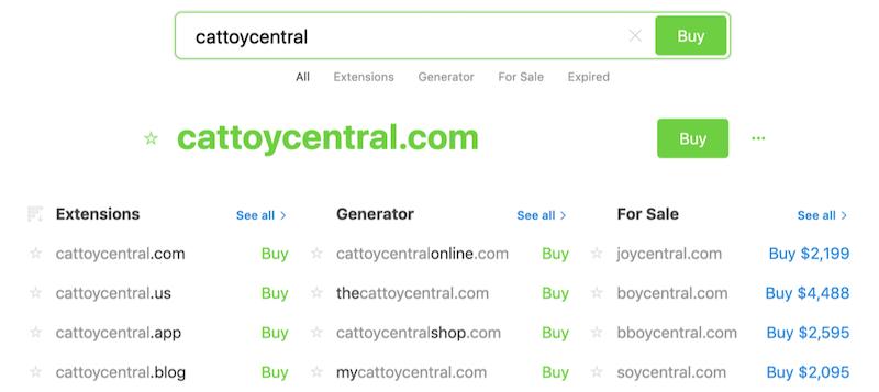 como criar uma pesquisa de domínio de site de comércio eletrônico