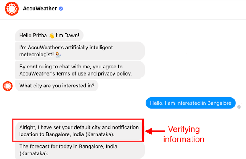 how to build ideal chatbot accuweather check