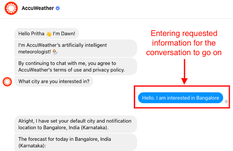 how to build ideal chatbot accuweather inform
