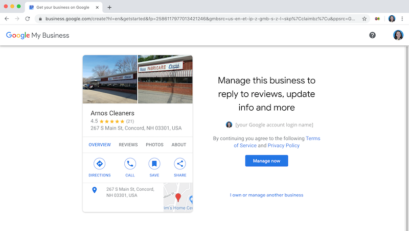 how to create and verify your google my business account own this business arnos cleaners manage this business