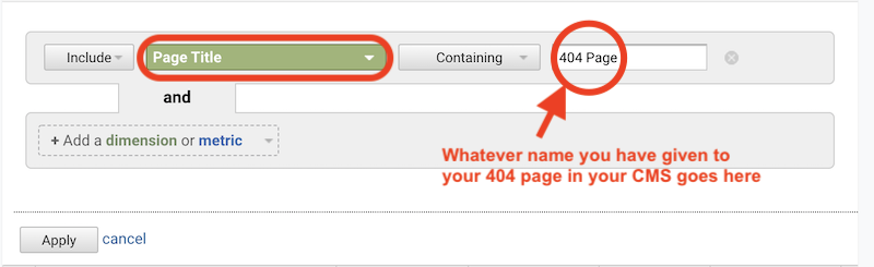 how to find broken links with google analytics filter page title containing
