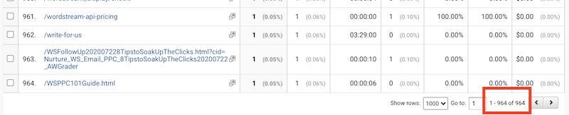 how to find broken links with google analytics-filter for 404 page- results-total pages