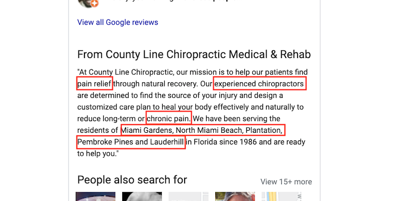how to use Google My Business for SEO county line chiro