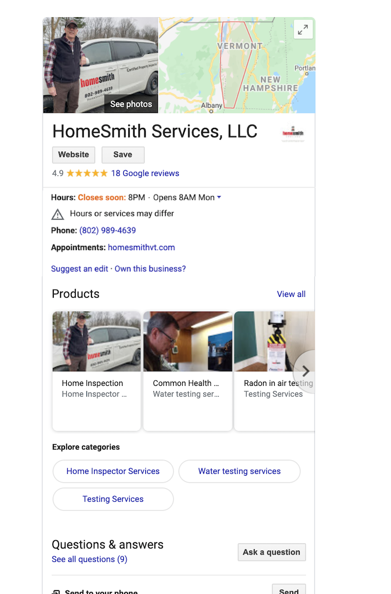 how to use Google my business provide information homesmith services llc.png