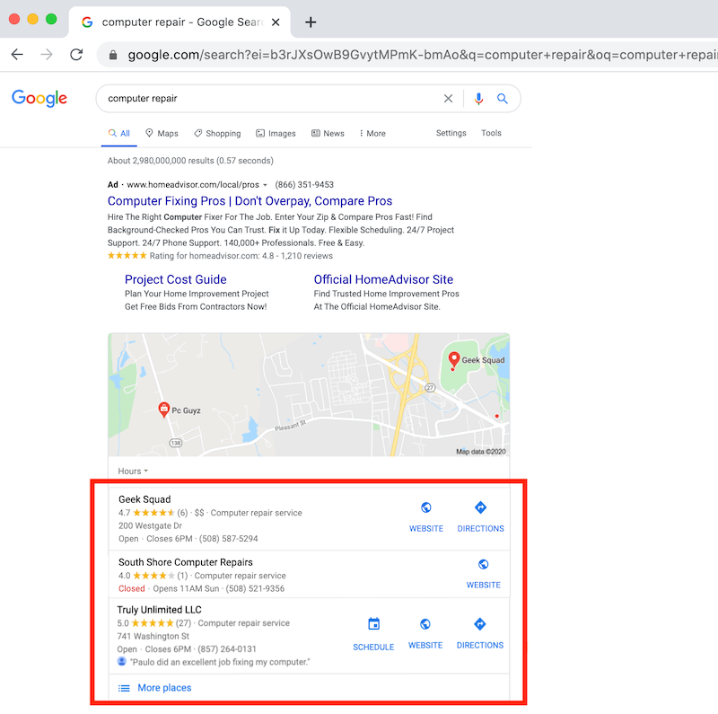 how to use google my business three pack local rank geek squad