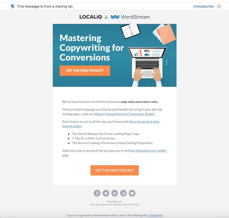 كيفية كتابة رسائل البريد الإلكتروني الترويجية ، مثال على مجموعة أدوات كتابة الإعلانات