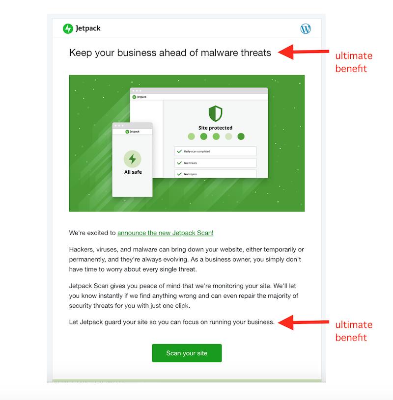 كيفية كتابة رسائل البريد الإلكتروني الترويجية ، مثال بريد إلكتروني ترويجي يركز على الفائدة
