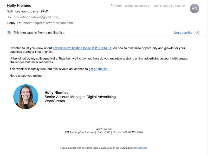 كيف تكتب رسائل البريد الإلكتروني الترويجية مثال بريد إلكتروني ترويجي يتضمن التوقيع