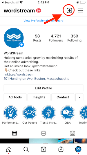 step one to create an instagram reel for business- go to business bio