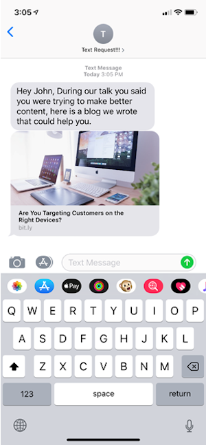 how to follow up with sales leads text message