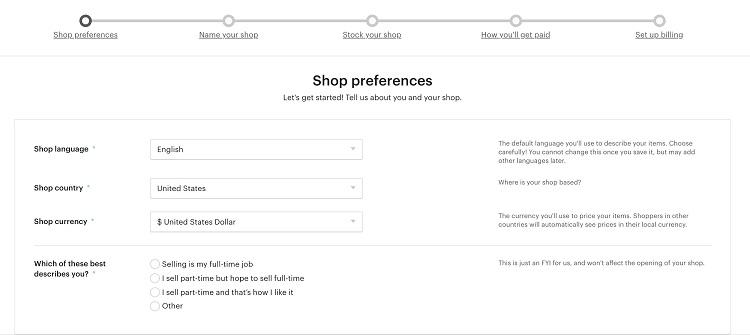 Etsy shop preferences