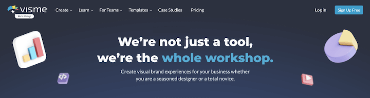 example of copy that sells—visme's catchy  website headline