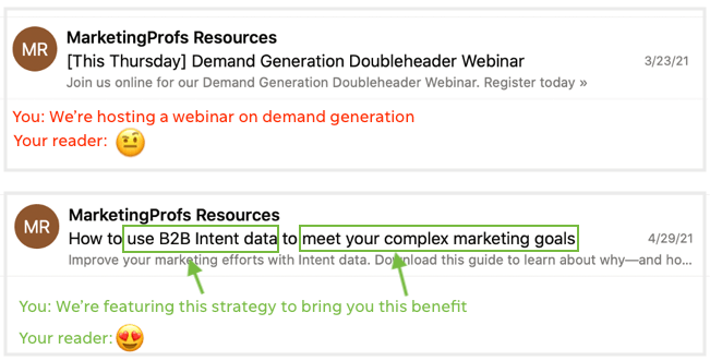 example of copy that sells—features and benefits in email subject line