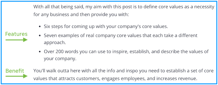 example of copy that sells—features and benefits in blog post intro