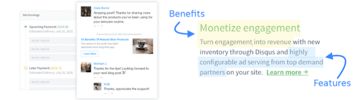 example of sales copy with features and benefits