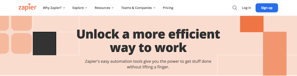 example of powerful verb in home page header