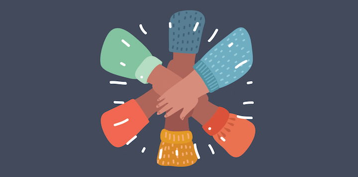 inclusion and diversity in marketing—hands together