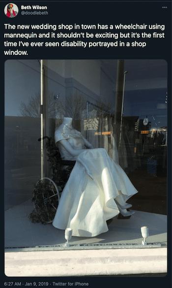 inspiring post-covid marketing ideas inclusivity wedding dress on wheelchair mannequin